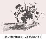 green world concept. tree on... | Shutterstock .eps vector #255006457