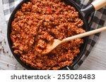bolognese sauce in a frying pan ...   Shutterstock . vector #255028483