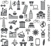 set of different travel icons... | Shutterstock .eps vector #255035467