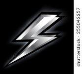 metallic lightning bolt  | Shutterstock .eps vector #255043357
