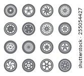 set of wheel rims | Shutterstock .eps vector #255054427