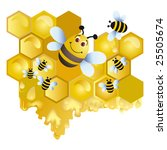 bee on a background honey | Shutterstock . vector #25505674