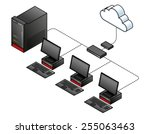 diagram of a  simple wired...   Shutterstock .eps vector #255063463