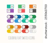 set of colorful flat toggle... | Shutterstock .eps vector #255063703