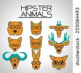 hipster animal icons set   Shutterstock .eps vector #255084493