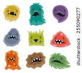 set of little angry viruses ...   Shutterstock .eps vector #255090277