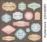 collection of worn vintage... | Shutterstock .eps vector #255140083