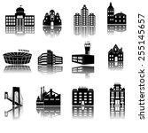 buildings vector web icons set. ... | Shutterstock .eps vector #255145657