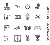 soccer and football icon set... | Shutterstock .eps vector #255146893