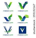 letter v logo design set.... | Shutterstock .eps vector #255152167