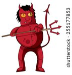 This A Cute Cartoon Red Devil...