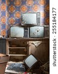 old antique television broken... | Shutterstock . vector #255184177