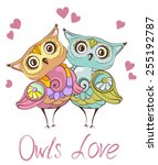 Love Birds. Greeting Card With...