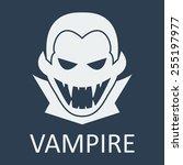 vector vampire on blue... | Shutterstock .eps vector #255197977