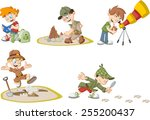 group of cartoon explorer boys... | Shutterstock .eps vector #255200437