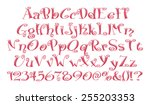 pink abc letters with numbers... | Shutterstock . vector #255203353