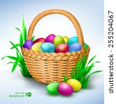 happy easter. colorful eggs in... | Shutterstock .eps vector #255204067