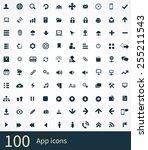 100 app icons on white... | Shutterstock . vector #255211543