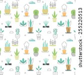 flowerpot seamless pattern with ... | Shutterstock .eps vector #255220513