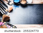 various makeup products on dark ... | Shutterstock . vector #255224773