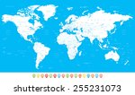 white world map and navigation... | Shutterstock .eps vector #255231073