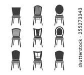 set of chairs on a white... | Shutterstock .eps vector #255273343