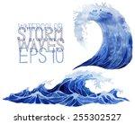 Watercolor Sea. Deep Blue Stor...