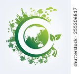 ecology concept. save world... | Shutterstock .eps vector #255306817