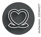 heart ribbon sign icon. love...