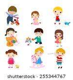 children playing toys | Shutterstock .eps vector #255344767