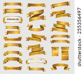 collection of golden premium... | Shutterstock .eps vector #255356497