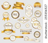 collection of golden premium... | Shutterstock .eps vector #255356527