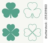Clover Leaf Icons. Vector...