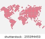 world map of love with red... | Shutterstock .eps vector #255394453
