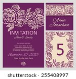 wedding set with floral... | Shutterstock .eps vector #255408997