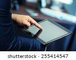 male hand touching screen... | Shutterstock . vector #255414547
