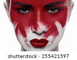 halloween beauty makeup. girl... | Shutterstock . vector #255421597
