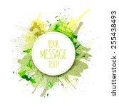 vector green watercolor... | Shutterstock .eps vector #255438493