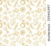 seamless pattern with spices on ... | Shutterstock .eps vector #255441997