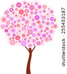 isolated spring pink tree...   Shutterstock .eps vector #255453187