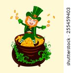 cheerful patrick on the pot of... | Shutterstock .eps vector #255459403