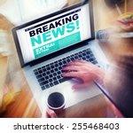 digital online breaking news... | Shutterstock . vector #255468403