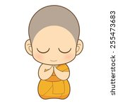 Cartoon Thai Monk Vector