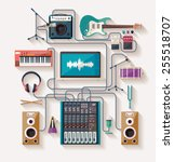 music creation. flat design. | Shutterstock .eps vector #255518707