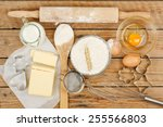 baking preparation  top view of ... | Shutterstock . vector #255566803