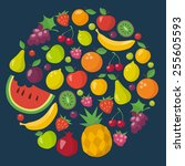 fruits icons set in flat style | Shutterstock .eps vector #255605593
