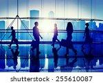 back lit people walking mall... | Shutterstock . vector #255610087