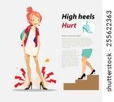 high heels hurt with...   Shutterstock .eps vector #255622363