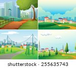 scenes of cities and parks | Shutterstock .eps vector #255635743