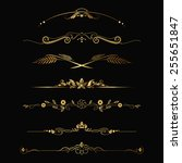 set of design gold elements and ... | Shutterstock .eps vector #255651847